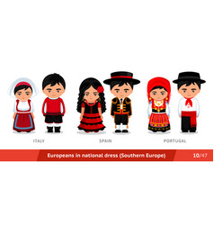 italy spain portugal men and women in national vector image