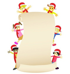 Kids with blank banner for Christmas coming vector