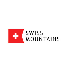 logotype template for tours to swiss mountains vector image