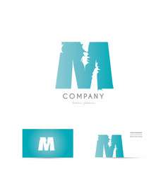 m blue letter alphabet logo icon design vector image