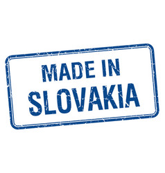 Made in slovakia blue square isolated stamp vector