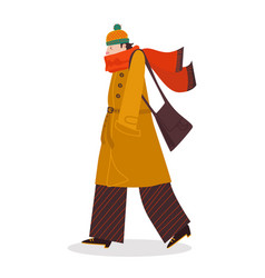 Male character walk bad autumn weather cold fall vector