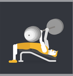 man doing bench press vector image