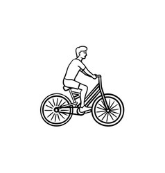 man riding a bike hand drawn outline doodle icon vector image