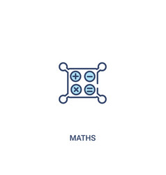 Maths concept 2 colored icon simple line element vector