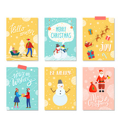 merry christmas set greeting xmas cards vector image