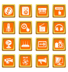multimedia internet icons set orange square vector image