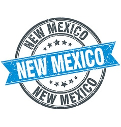 New mexico blue round grunge vintage ribbon stamp vector