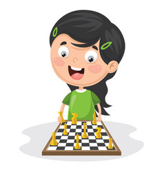 Of a kid playing chess vector
