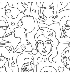 one line face pattern trendy woman face seamless vector image
