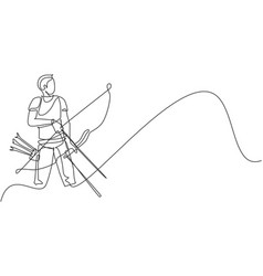 One single line drawing young archer man focus vector