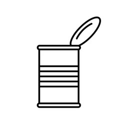 Open tin can with lid side view linear canned vector