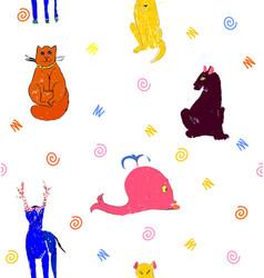 Orange cat yellow dog brown panther deer blue vector