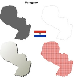 Paraguay outline map set vector