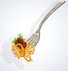 Pasta with tomato and meat on fork vector