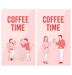 People colleague coffee time advertising flyer set vector