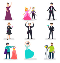 People in theatre set vector