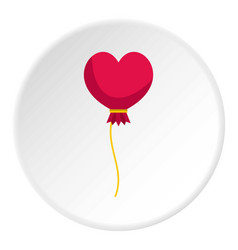 Pink heart balloon icon circle vector