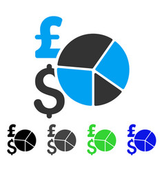 pound and dollar pie chart flat icon vector image