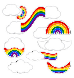 rainbow paper and cloud with shadow on white vector image