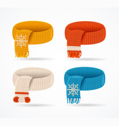 realistic 3d detailed winter knitted scarfs set vector image