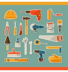 Repair and construction working tools sticker icon vector