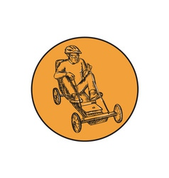 Rider Riding Soapbox Etching vector image