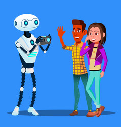 Robot takes pictures of young happy couple man and vector