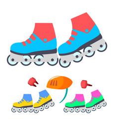 roller skates modern children outdoor vector image