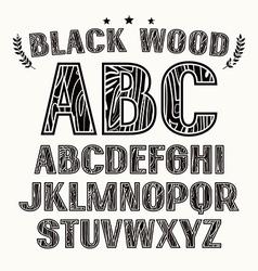 Sans serif uppercase font with contour vector