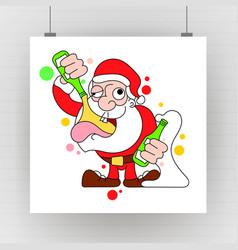 santa dancing and drinking cartoon - drunk claus vector image