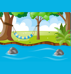 Scene with hammock on the tree vector