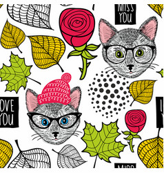 Seamless background with cute cats and roses vector