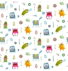 Seamless pattern cartoon monster background for vector image