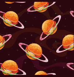 seamless pattern with fantasy cartoon food planet vector image
