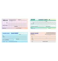 Set isolated bank checkbanking cheque vector