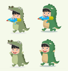 set of cartoon little kid characters in animal vector image