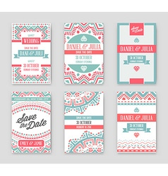 Set of Design Awesome Wedding Invitation Template vector image