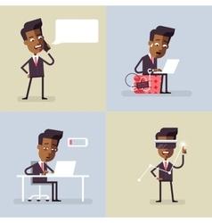 Set of llustrations with black businessmans vector