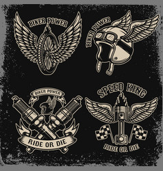 Set of vintage biker motorcycle emblems on dark vector