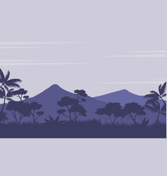 Silhouette of forest with mountain scenery vector
