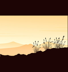 Silhouette of mountain with course grass landscape vector