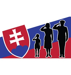 Slovakia soldier family salute vector image