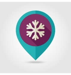 Snowflake Snow flat pin map icon Weather vector image
