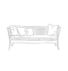 sofa with pillows lines vector image