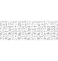 Speech bubble doodle seamless pattern on white vector