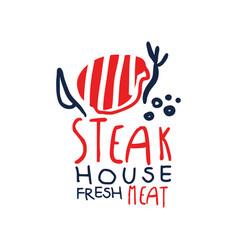 steak house freash meat logo template vintage vector image