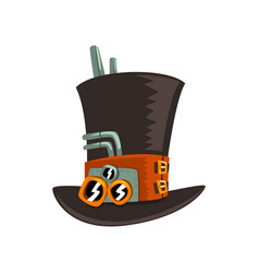 steampunk top hat antique mechanical device or vector image