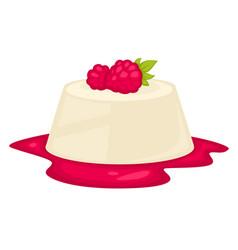 Sweets made jelly liquid raspberry jam on top vector