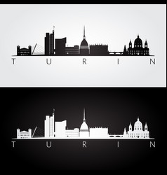 Turin skyline and landmarks silhouette vector